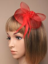 New Red Net Feather Rose Fascinator Clip Wedding Races