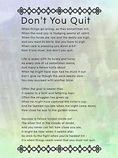 DON'T YOU QUIT POEM MOTIVATION TYPOGRAPHY QUOTE ART PRINT POSTER QU232A