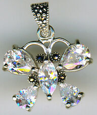 "925 Sterling Silver Cubic Zirconia & Marcasite Butterfly Pendant    Width (7/8"")"