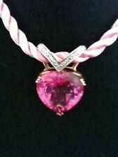 Pink Topaz 14K Heart Charm Necklace Earrings 3 Pc Set RP$2000 @operationsmile