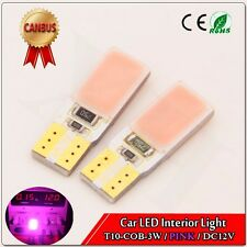 4 x Pink Canbus LED T10 194 168 921 2825 COB 3W Wedge Interior Dome Light Bulbs