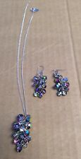 Vintage Judy Lee Costume Jewelry Chain Necklace W/ Charm & Hook Earring Set
