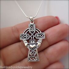 Large Celtic Claddagh Cross Necklace - 925 Sterling Silver - Claddagh Pendant