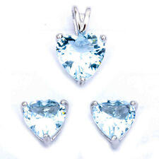 Aquamarine Heart .925 Sterling Silver Earring & Pendant Jewelry set