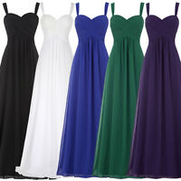 New Long Evening Ball Gown Party Prom Chifffon Bridesmaid Dress Stock Size 4-18