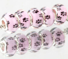 jewelry 5pcs Dog feet SILVER MURANO bead LAMPWORK fit European Charm Bracelet