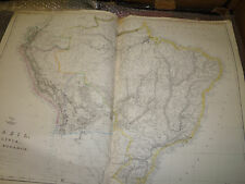Brazil,Bolivia,Peru,Ecuador map  Dispatch Atlas circa 1860- JW LowryFramed40more