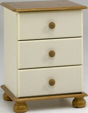 Steens Richmond 3 Drawer Bedside in Cream and Pine