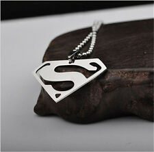 1Pcs Silver Fashion Stainless Steel Big S Superman Men Pendant Necklace