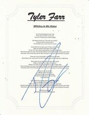 TYLER FARR SIGNED WHISKEY IN MY WATER LYRIC SHEET