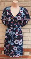 PRIMARK NAVY BLUE LILAC FLORAL V NECK CAPE SKATER A LINE SUMMER TEA DRESS 10 S