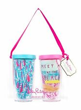 LILLY PULITZER Insulated Tumbler + Lid Set 2 RED RIGHT RETURN + MEET ME AT BEACH