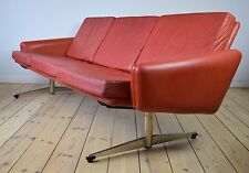 Danish Retro 'Shaker-Leg' Red Leather Sofa, 1960's.