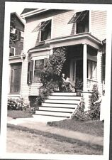 VINTAGE EARLY 1900'S VICTORIAN HOUSE MAN ON PORCH NEW HAMPSHIRE OLD PHOTO
