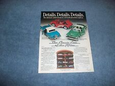 "1992 Franklin Mint 1:43 Die-Cast Cars of the Fifties Vintage Ad ""Details,....."""