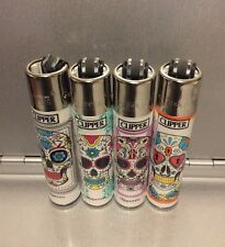 Clipper Refillable Lighters New Full Size 4pcs Mexican Skull Design