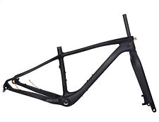 "19"" 26er Carbon Fat Frame Fork 150 197mm Snow Bike Thru Axle MTB UD Matt BSA"