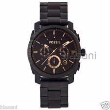 Fossil Original FS4682 Men's Machine Mid-Size Black Stainless Steel Watch 42mm