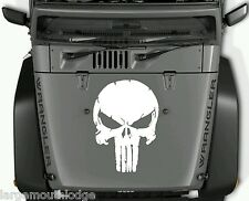 DISTRESSED PUNISHER SKULL VINYL DECAL GRAPHIC JEEP HOOD FORD CHEVY DODGE WHITE