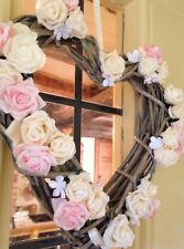 Wicker Heart Wreath Shabby Chic Country Rustic Door Wreath Roses Beautiful