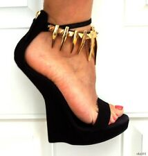new $1425 Giuseppe ZANOTTI black GOLD SPIKES ankle strap SCULPTED shoes 39 9 8.5