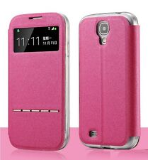 Matte Flip Leather Case Cover View Window Metal Sliding Smart Answer for iPhone