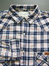 Wrangler Western Checked Shirt Men's XL Extra Large Blue Flannel Vintage LSHz420