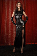 BLACK LONG EVENING DRESS & GLOVES PVC WET LOOK CATSUIT FAUX LEATHER SIZE 10 12