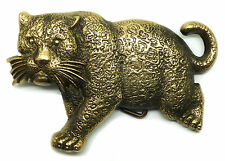 Leopard Belt Buckle Big Cat Wild Animal Solid Brass Authentic Baron Buckles