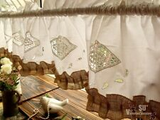 "70"" Shabby French Chic Rustic Burlap Window Valance White HAND Crochet Ruffled!"