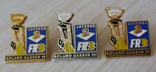RARE LOT 3 PIN'S SPORT TENNIS ROLAND GARROS 92 ANTENNE 2 FR3 ZAMAC DECAT PARIS