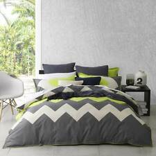 Logan and Mason MARLEY LIME Green QUEEN Size Bed Doona Quilt Cover Set Brand New