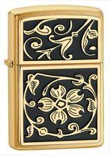 BRIQUET ZIPPO NEUF - NOIR ET OR ( Gold Floral Flush ) - 2014