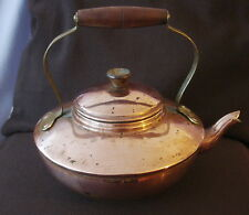 Vintage French Copper Kettle with brass & wood handle by ARGY EUROPE Circa 1930s