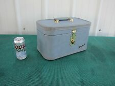 Vintage Blue Starfrost Cosmetic Overnight Train Travel Case Luggage 1950's