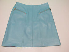 "NWT Womens CACHE Teal Blue Leather Skirt Extra Small 0 Regular 16"" w/ zippers"