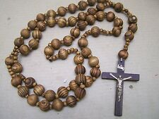Huge Wall Rosary with Dark Brown Beads - Mexico
