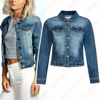 NEW WOMENS DENIM CROP JACKET DENIM STRETCH JEAN LADIES FESTIVAL 6 8 10 12 14 16