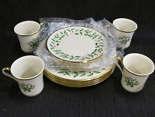 12 PC LENOX HOLIDAY 4 Mugs Dinner Salad Plate SET Holly Berry CHRISTMAS w/ Box !