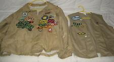 LOT OF 2 VINTAGE GIRLS SCOUT LEADER VEST & JACKET W/LOTS OF PATCHES AND PINS