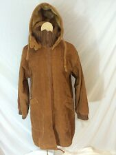 Vtg 1970s Womens At Ease Corduroy Jacket Coat Hooded Sherpa Lined Size 11