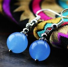 Original DIY handmade natural Blue jade beads Tibet silver ms earrings #2352