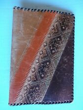 "Decorative leather pocket book with Latvian design, (5"" x 7"")"