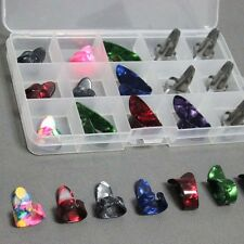 15pcs Stainless Steel Celluloid Thumb Finger Guitar Picks + Case Mix Color Set