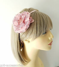 Gorgeous large pink sequin & fabric flower elasticated headband - kylie band