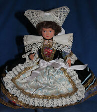 "Vintage French Brittany Celluloid Doll, 9"", black dress with beautiful trims"