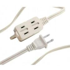 6 FT 3 Outlet 2 Prong Indoor Wall Power AC Extension Cord Cable White
