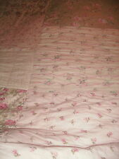 SIMPLY SHABBY CHIC VINTAGE RARE FLORAL CASTLE PATCHWORK QUILT PINK FLOWERS QUEEN
