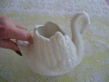 Porcelain White Swan Planter Vase Dish Figurine - 7.5 inch. long Signed DW 1985