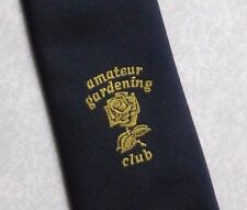 AMATEUR GARDENING CLUB TIE VINTAGE RETRO NAVY GOLD CREST CH MUNDAY 1980s 1990s